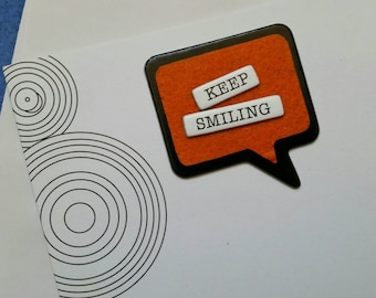 Keep Smiling handmade trifold greeting card with concentric circles