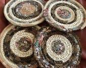 Brown and Tan Bohemian Coiled Fabric Coasters, Trivet, Mug Rug - Storage and Organization handmade