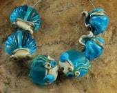 Glass Lampwork Beads, Conch Seashell, Ocean Beads, Clam Shells, Handmade SRA #275 by CC Design