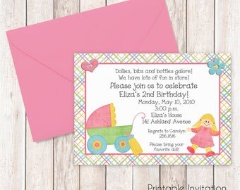 Baby Dolls Invitation, Little Girl Birthday Printable Invitation Design, Baby Doll Invitation, Custom Wording, JPEG File