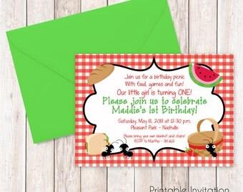 Picnic Invitation, Printable Invitation Design, Custom Wording, JPEG File