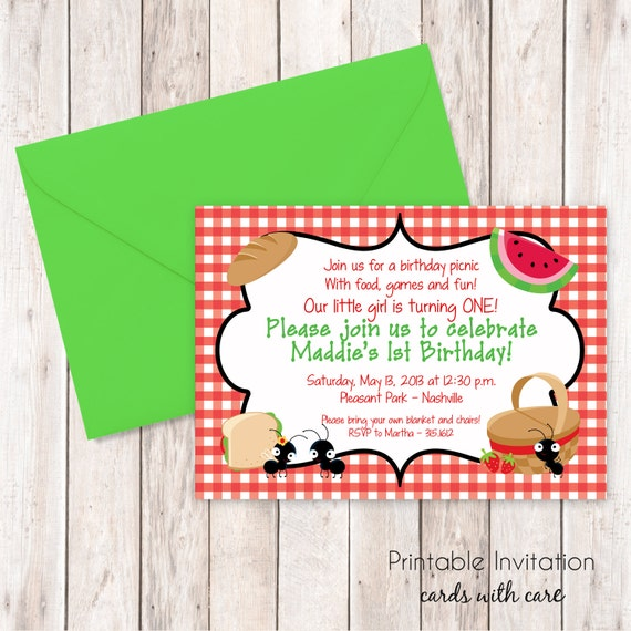 Picnic Invitation Printable Invitation Design Custom