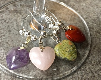 Wine Glass Charms - Gemstone Heart Wine Charms - Set of 4 - For Wine Lovers - Amethyst, Jade, Pink Quartz, Red Agate