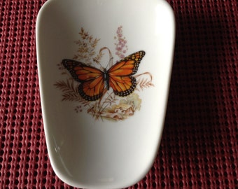"Ceramic Spoon Rest With Colorful Butterfly 5"" Long and 3 1/2 Inches Wide at Top  of Spoon"