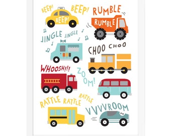 Vehicle art print, trucks, trains, cars wall art, transportation wall art, nursery vehicles art print, construction poster, baby boy art