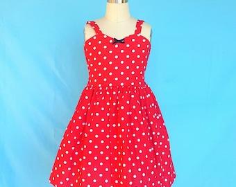 Red dot dress, Retro Polka Dot dress,  ROCKABILLY dress for girls,  I Love Lucy dress, girls dress, fifties style dress 50s, SALE 4/5t
