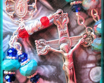 Handmade Rosary Colorful Picasso Glass Czech Beads and Solid 925 Sterling Silver and Blest w Padre Pio Relic