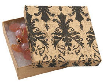50 Pack of 3.5X3.5X1 Inch Size High Quality Vintage Inspired Damask Cotton Filled Jewelry Presentation Boxes