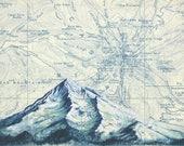 Mt Hood in Blue, Mount Hood winter painting print Mountain, Oregon mountain print, Portland skier snowboarder art topo map art, illustration