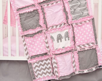 Elephant Nursery - Gray / Pink Crib Bedding - Bumperless Crib Set / Crib Rag Quilt / Sheet / Skirt - Safari Crib Bedding - Jungle Crib Set