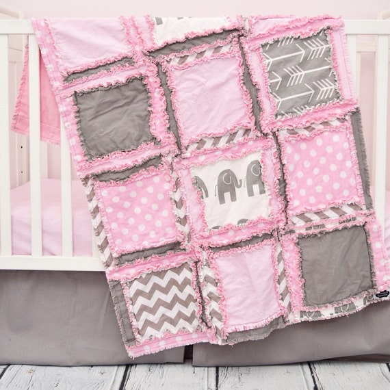 Girl Elephant Crib Bedding Set by Avisiontoremember