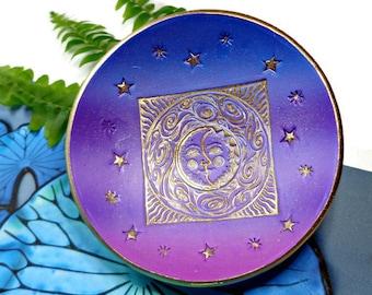 Personalized Ring Dish Sun Moon Stars Ring Holder Polymer Clay Dish Purple Ring Holder Zen Friendship Ring Dish