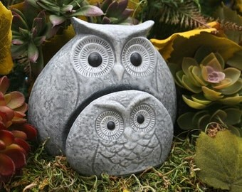 Concrete Owl Statues, Mom & Baby Owlette, Two Piece Owl Family Sculpture, Outdoor Garden Art, Rock Stone Owls
