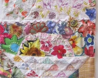 spring FLOWER BOUQUET --  Textile Assemblage Fabric Collage Wall Hanging Quilt --Folk Art Mixed Media myBonny random scraps