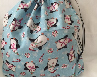 Christmas Fabric Gift Bag  Eco Friendly Bag  Drawstring Reuseable wrap --size 10 inches x 12 inches Penguins and Candy Canes