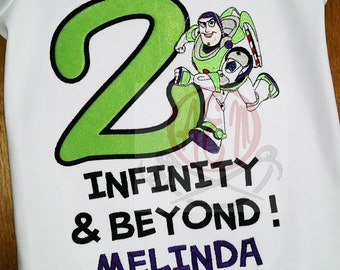2 Infinity and Beyond Buzz Girls Puff Sleeve White Birthday Shirt with name