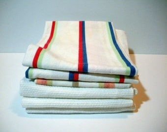 Vintage Kitchen DISH TOWELS, Linens, Cotton Stripes, 6 Tea Towels