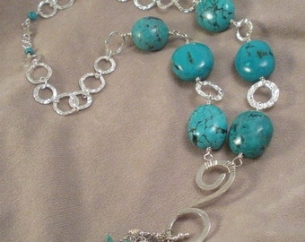 ON SALE Turquoise  Large Genuine Nuggets and Sterling Silver Statement Necklace