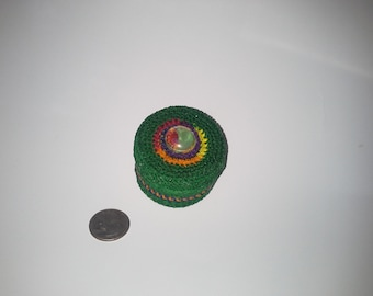 Stash Tin Covered in Green and Rainbow  Crochet,  2oz.