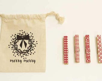 Merry Merry Clothespins Set by Kate Spain for Moda