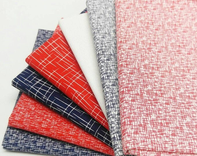 Featured listing image: Riley Blake Red and Navy Hashtag bundle - 7 Fat Quarters