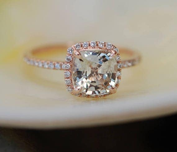 Jasmine sapphire engagement ring 1.85ct Square Cushion Peach Champagne sapphire 14k rose gold diamond ring engagement ring by Eidelprecious