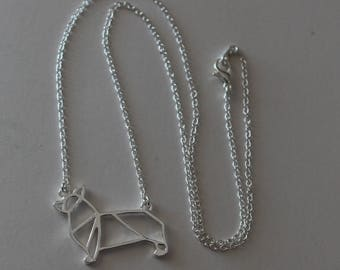 Origami Welsh Pembroke Corgi -  Dog Pendant and Chain - Pet