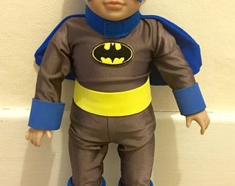 """Super Hero Type costume for 18"""" doll - possibly Batman parody costume"""