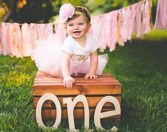 First Birthday Outfit Girl, Baby Tutu Dress Set, Baby Headband, Tulle Skirt, 1st Birthday Outfit Girl, Pink and Gold Cake Smash Outfit, SEWN