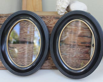 SET of 2 Black Oval Plastic Vintage frames