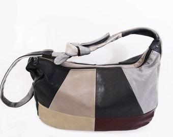 80's leather PATCHWORK HOBO BAG // slouch purse // bucket bag // vintage boho bag