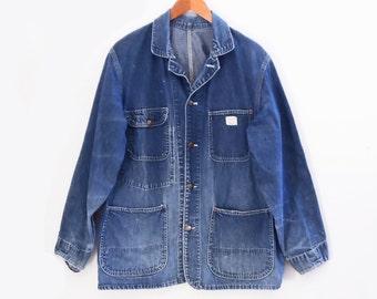 50's BIG MAC denim barn jacket // vintage chore coat // Penney's sanforized work wear // men's M L
