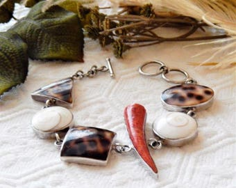 One of a Kind Sterling Silver Tiger Cowrie Puka Shell Sponge Coral Bracelet