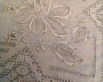 Madiera Handkerchief Orchid Daffodil Intricate Cut Drawn Hand Work Wedding