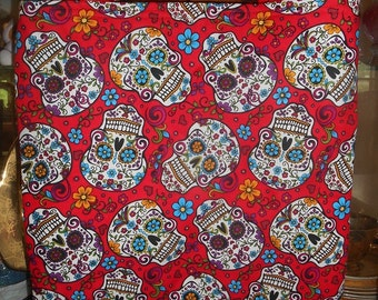 Skulls & Flowers Tote Bag Goth Dead Red Floral Handmade Purse Limited