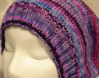 Purple Stripes Slouch beanie merino stripes hand knit hand dyed yarn winter slouchy slouch hat