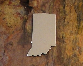 """5 Deburred 1 1/4"""" INDIANA state Stamping Blanks *Choose Your Metal* Aluminum Brass Bronze Copper Nickel Silver Midwest Enameling IN map"""
