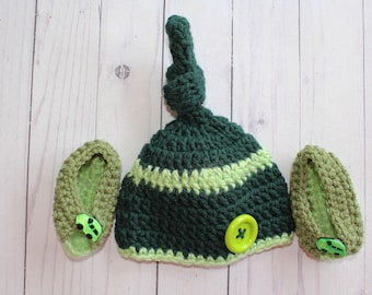 Baby Crochet Tassel Hat, with Booties,Infant,Newborn, photo prop, beanie hat,Greens