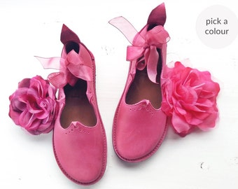 Everyday comfort shoes, HOLLY, Handmade Leather Fairytale Inspired Shoes by Fairysteps in your colour and size
