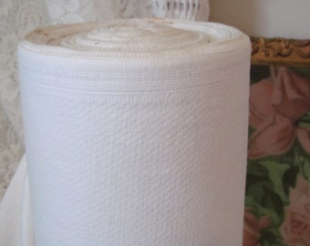 Vintage White Cotton Huck Toweling by the yard