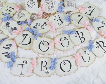 Double Trouble Twins Baby Shower Banner Garland Bunting - Vintage Style Parchment - Choose Ribbons - Small Medium Large - Sprinkle its twins