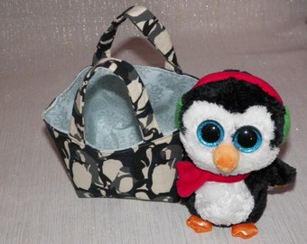 Winter Teeny Tote Bag with Plush Penguin Your Choice of One