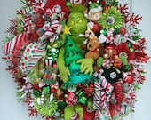 sale today  only, XL Grinch wreath, Christmas wreath, Holiday wreath, Door wreath, Max