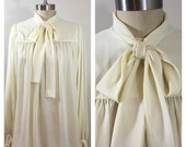 80s Anne Klien Cream Draped A-line Poet's Blouse, Fits Sizes Medium, Large to XL