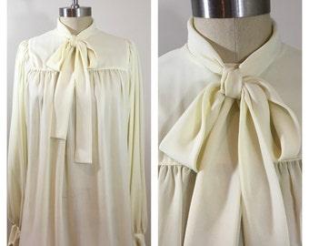 80s Anne Klien Cream Draped A-line Poet's Blouse, Fits Sizes Medium, Large to XL