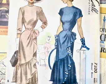 Vintage 1940s Fitted Womens Flounced Dress - McCall 7320