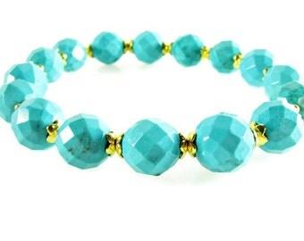 Turquoise Stretch Bracelet, Turquoise Faceted Bead Bracelet, Gifts for Her, Boho Bracelet, Stackable Bracelets