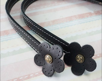 1 pairs of  Black Genuine Leather Flower Shape Sewing Line Handbag Handle Bag Supplies