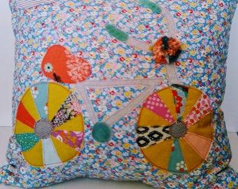 floral bicycle applique pillows