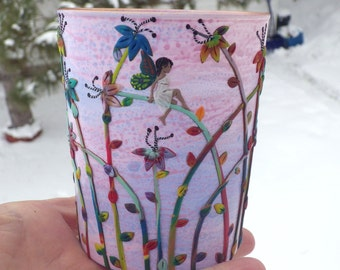 Tiny Fairy in Her Multi Color Garden Sculpted with Polymer Clay onto a Recycled Glass Candle Holder in Blush Pink Sunset